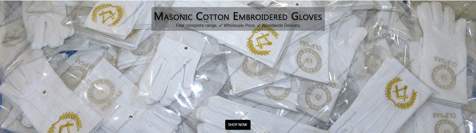 Masonic Cotton Gloves With Embroidery