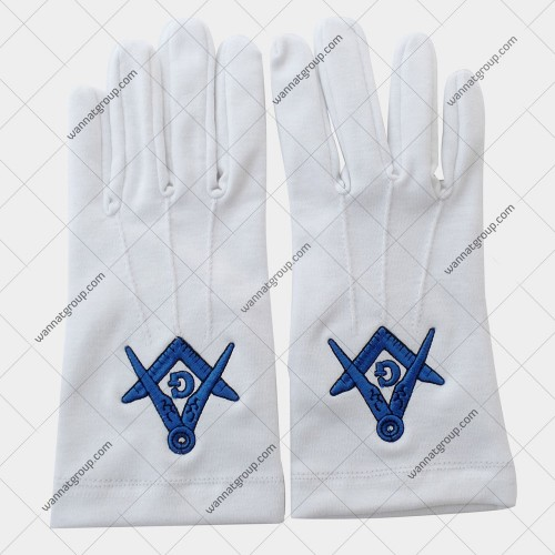 Masonic Gloves with Square and Compass and G