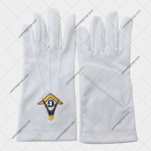 Masonic White Cotton Gloves With S&Q and G Embroidery