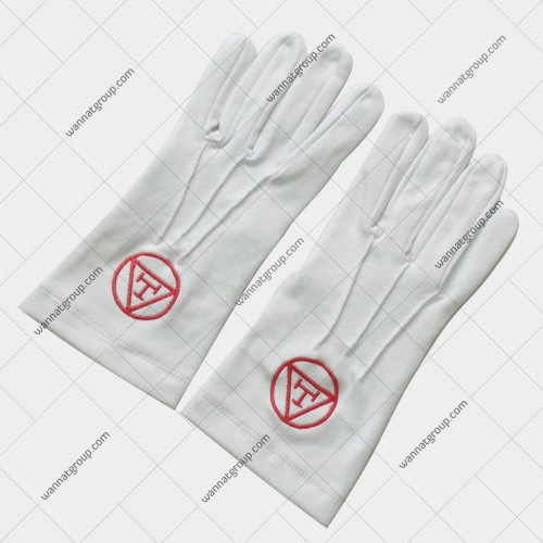 Masonic Royal Arch Chapter Cotton Gloves With Triple Tau
