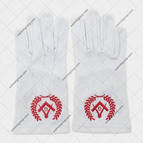 Masonic White Cotton Gloves with Square and Compass, G and Wreath