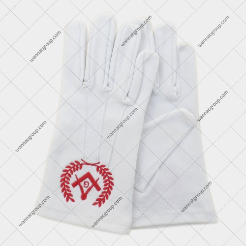 Masonic Gloves with Lodge Number and Emblem