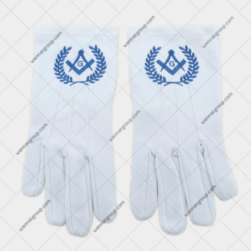 Masonic Gloves with Lodge Number and Emblem in Blue