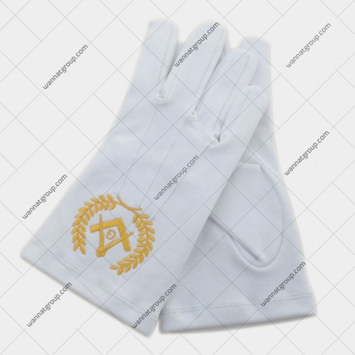 Masonic Gloves with Lodge Number and Emblem in Yellow