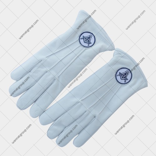Masonic White Leather Gloves With Embroidery