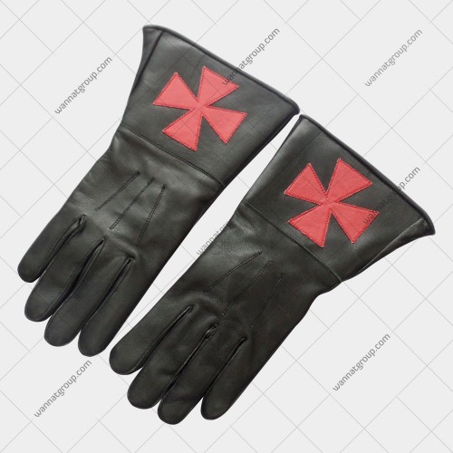 Knights Templar Black Leather Gauntlets