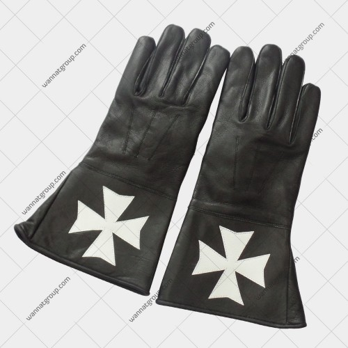 Knights Of Malta Black Leather Gloves